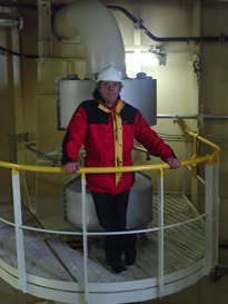 Dr Chris Haughton on board the gas carrier mv 'Exemplar', Teesport.